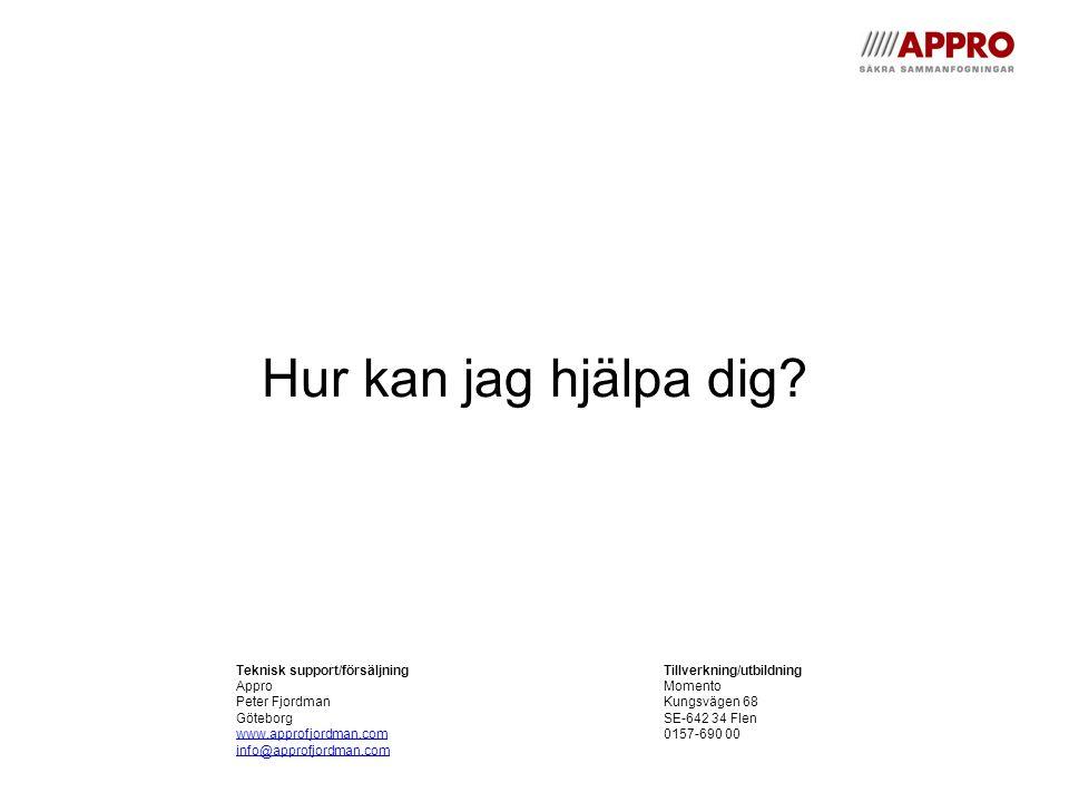Hur kan jag hjälpa dig? Teknisk support/försäljningTillverkning/utbildning ApproMomento Peter FjordmanKungsvägen 68 GöteborgSE-642 34 Flen www.approfj
