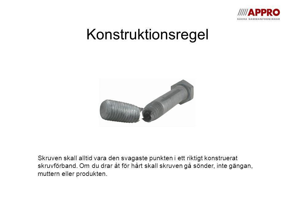 Konstruktionsregel Skruven skall alltid vara den svagaste punkten i ett riktigt konstruerat skruvförband.