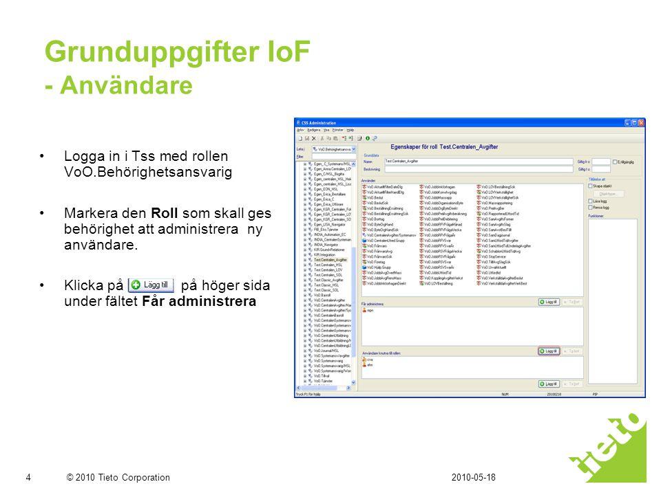 © 2010 Tieto Corporation Grunduppgifter FtB (IoF) - Användare •Sök fram och markera användare som skall nyregistreras •Klicka Ok och Spara •Upplagda Användare visas i listan Får administrera 2010-05-185