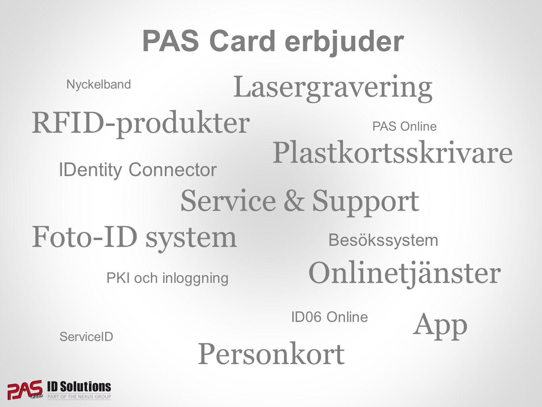 PAS Card erbjuder RFID-produkter Service & Support Plastkortsskrivare Onlinetjänster Foto-ID system Personkort PAS Online IDentity Connector Besökssys