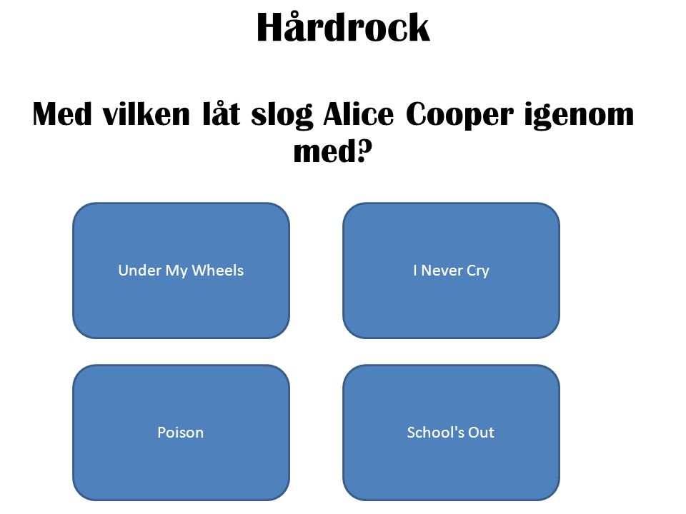 Hårdrock Med vilken låt slog Alice Cooper igenom med? Under My WheelsI Never Cry PoisonSchool's Out