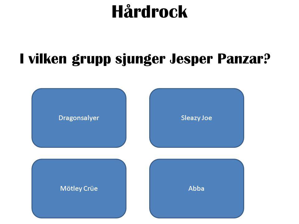Hårdrock I vilken grupp sjunger Jesper Panzar DragonsalyerSleazy Joe Mötley CrüeAbba