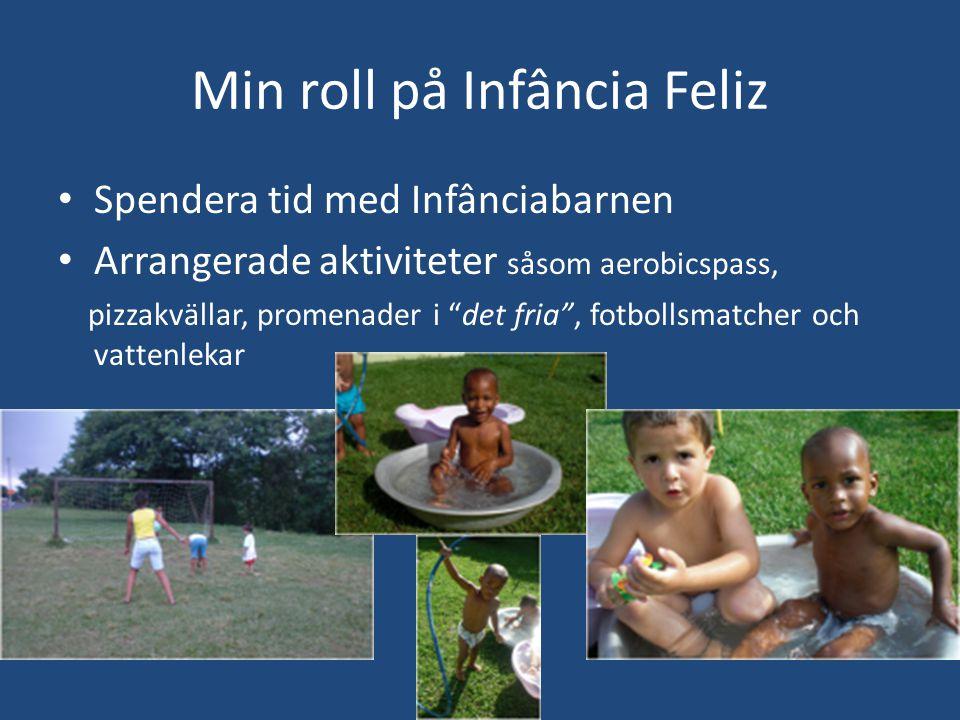Min roll på Infância Feliz • Spendera tid med Infânciabarnen • Arrangerade aktiviteter såsom aerobicspass, pizzakvällar, promenader i det fria , fotbollsmatcher och vattenlekar