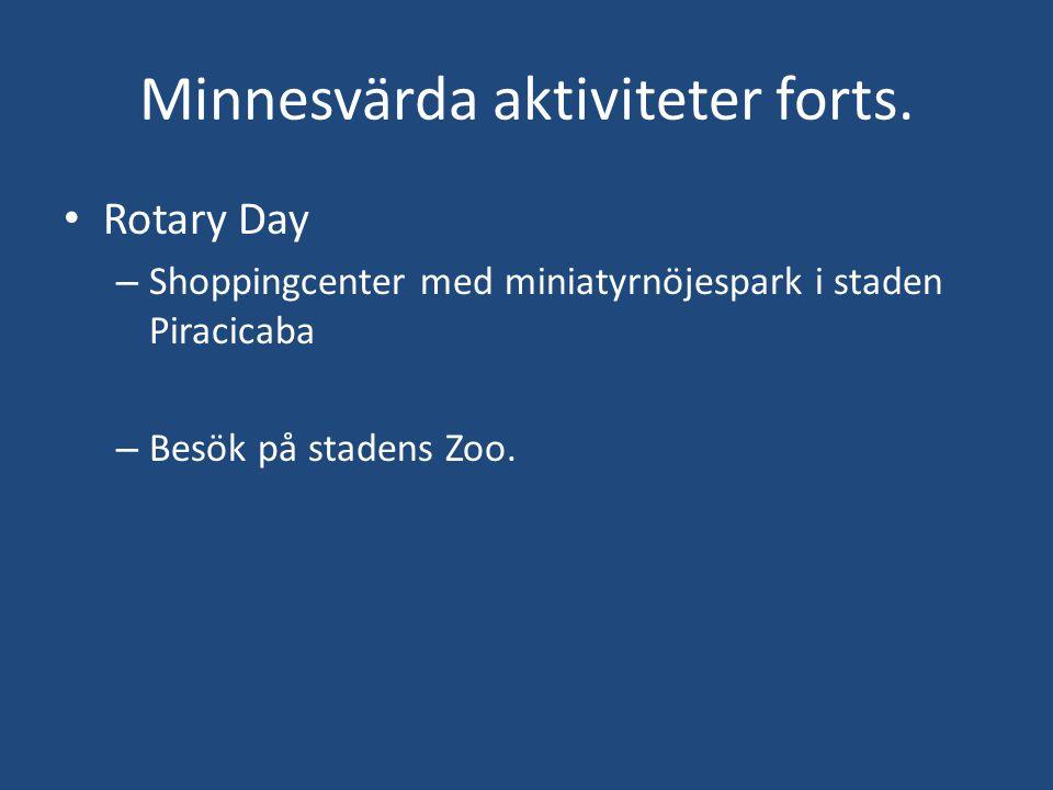 Minnesvärda aktiviteter forts. • Rotary Day – Shoppingcenter med miniatyrnöjespark i staden Piracicaba – Besök på stadens Zoo.