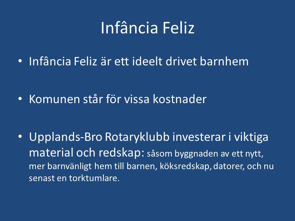 Infância Feliz • Infância Feliz är ett ideelt drivet barnhem • Komunen står för vissa kostnader • Upplands-Bro Rotaryklubb investerar i viktiga materi