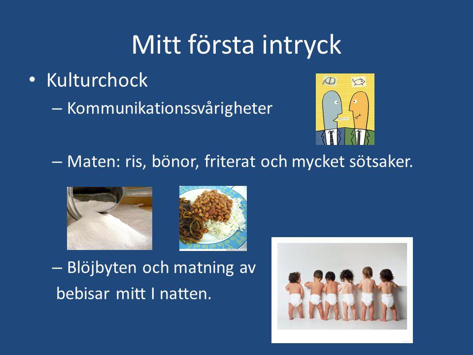 Mitt första intryck • Kulturchock – Kommunikationssvårigheter – Maten: ris, bönor, friterat och mycket sötsaker.