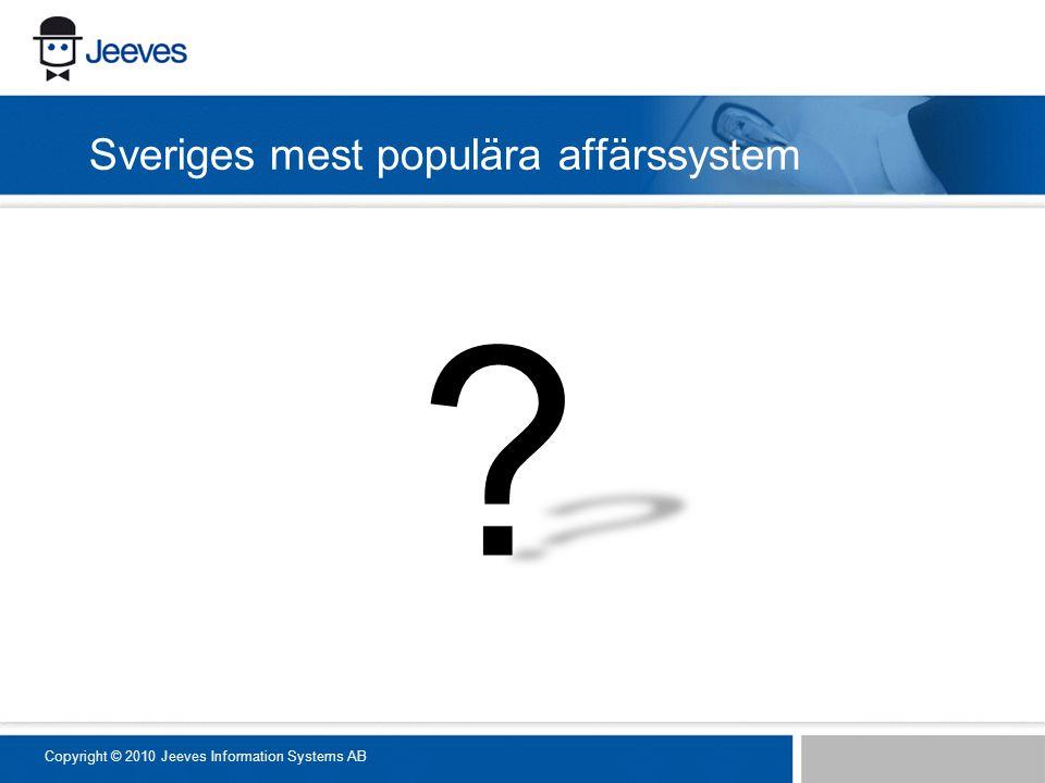 Sveriges mest populära affärssystem Copyright © 2010 Jeeves Information Systems AB