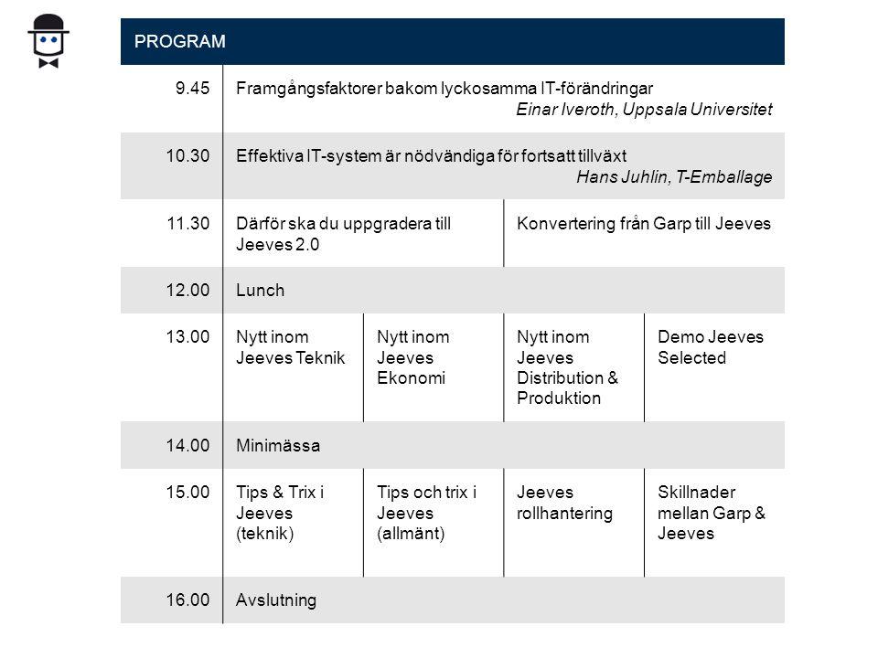PROGRAM 9.45Framgångsfaktorer bakom lyckosamma IT-förändringar Einar Iveroth, Uppsala Universitet 10.30Effektiva IT-system är nödvändiga för fortsatt tillväxt Hans Juhlin, T-Emballage 11.30Därför ska du uppgradera till Jeeves 2.0 Konvertering från Garp till Jeeves 12.00Lunch 13.00Nytt inom Jeeves Teknik Nytt inom Jeeves Ekonomi Nytt inom Jeeves Distribution & Produktion Demo Jeeves Selected 14.00Minimässa 15.00Tips & Trix i Jeeves (teknik) Tips och trix i Jeeves (allmänt) Jeeves rollhantering Skillnader mellan Garp & Jeeves 16.00Avslutning