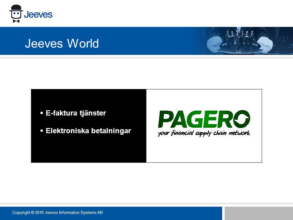  E-faktura tjänster  Elektroniska betalningar Jeeves World Copyright © 2010 Jeeves Information Systems AB