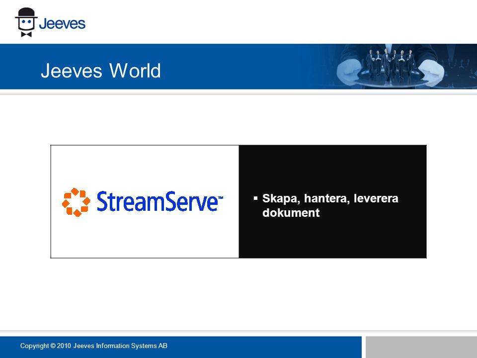  Skapa, hantera, leverera dokument Jeeves World Copyright © 2010 Jeeves Information Systems AB