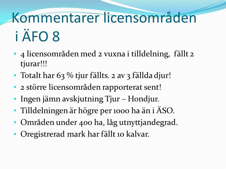 Kommentarer licensområden i ÄFO 8 • 4 licensområden med 2 vuxna i tilldelning, fällt 2 tjurar!!.