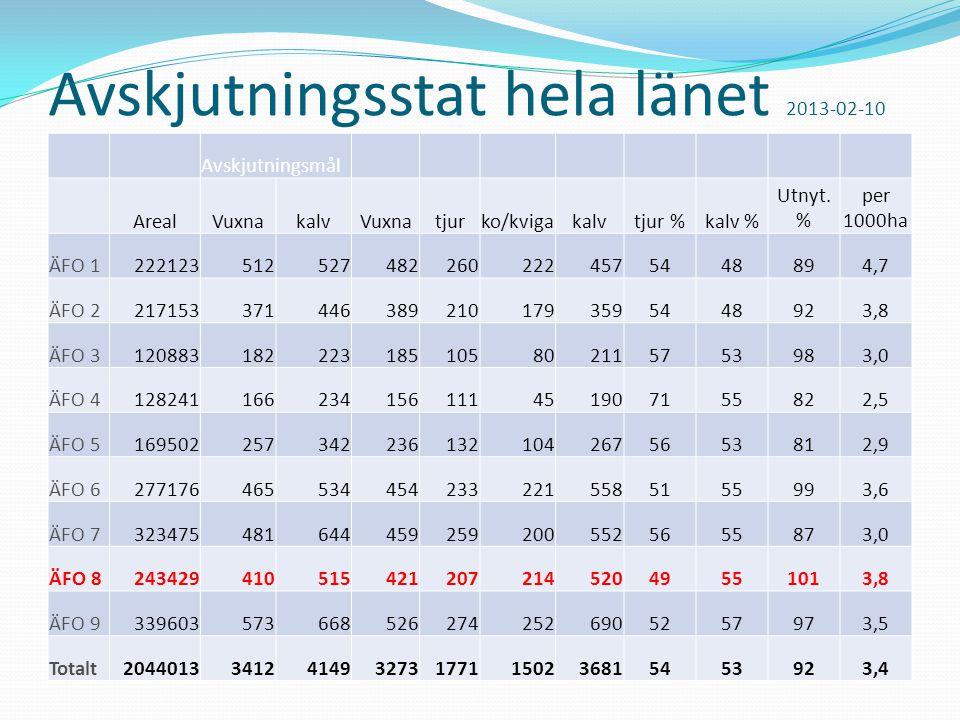 Avskjutningsstat hela länet 2013-02-10 Avskjutningsmål ArealVuxnakalvVuxnatjurko/kvigakalvtjur %kalv % Utnyt.
