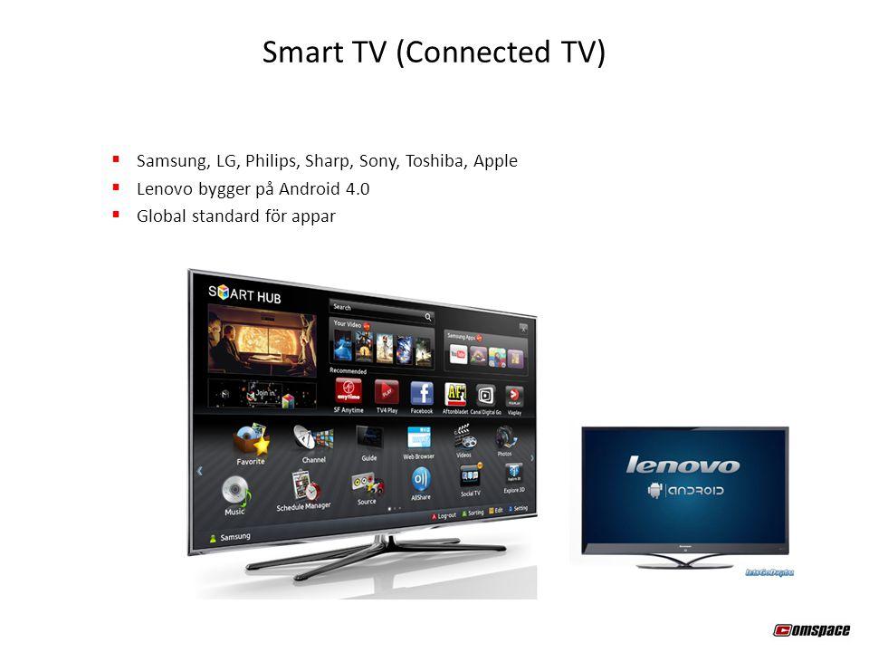  Samsung, LG, Philips, Sharp, Sony, Toshiba, Apple  Lenovo bygger på Android 4.0  Global standard för appar Smart TV (Connected TV)