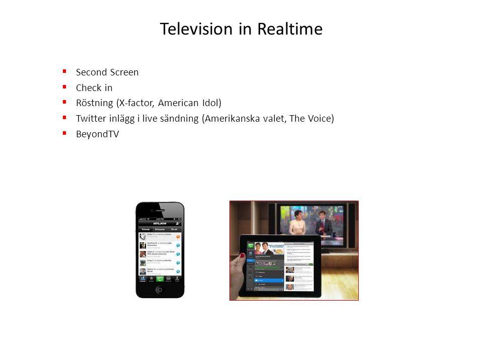  2011 var året då Social TV blev ett begrepp  One –Screen World to Two Screen World  TV producenter kommer att börja anpassa formaten till second screen användningen  Användarna kommer att vilja konsumera TV på ett nytt sätt Trender