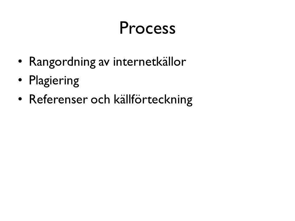 Process • Rangordning av internetkällor • Plagiering • Referenser och källförteckning