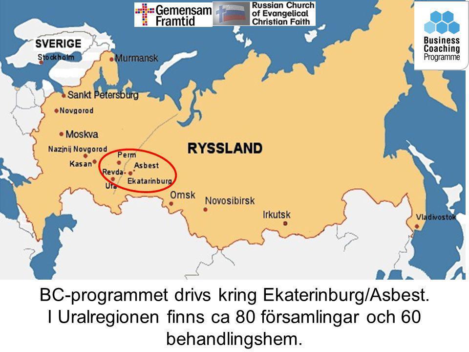 BC-programmet drivs kring Ekaterinburg/Asbest. I Uralregionen finns ca 80 församlingar och 60 behandlingshem.