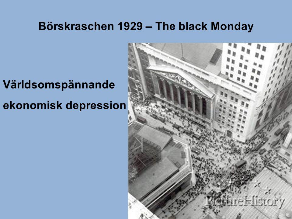 Börskraschen 1929 – The black Monday Världsomspännande ekonomisk depression