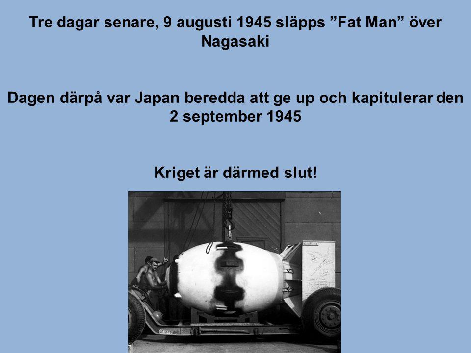 """Tre dagar senare, 9 augusti 1945 släpps """"Fat Man"""" över Nagasaki Dagen därpå var Japan beredda att ge up och kapitulerar den 2 september 1945 Kriget är"""
