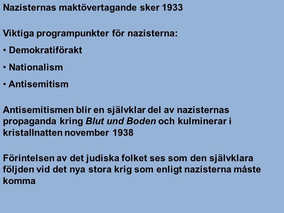 Nazisternas maktövertagande sker 1933 Viktiga programpunkter för nazisterna: • Demokratiförakt • Nationalism • Antisemitism Antisemitismen blir en sjä