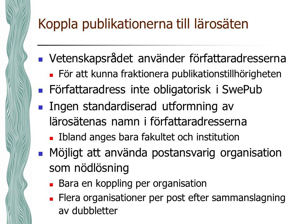 Koppla publikationerna till lärosäten  Vetenskapsrådet använder författaradresserna  För att kunna fraktionera publikationstillhörigheten  Författa