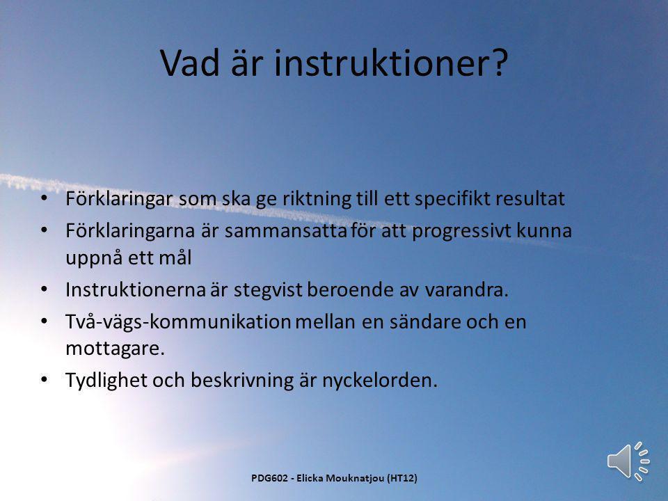 Att ge instruktioner En progressiv utvecklingsfaktor PDG602 - Elicka Mouknatjou (HT12)