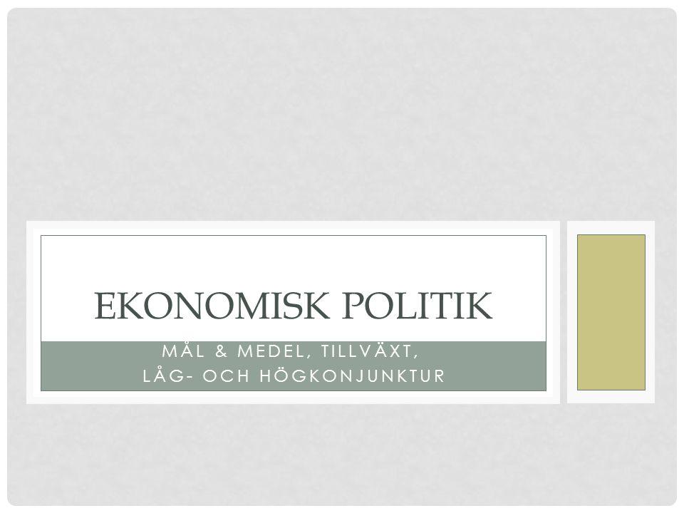 MÅL & MEDEL, TILLVÄXT, LÅG- OCH HÖGKONJUNKTUR EKONOMISK POLITIK