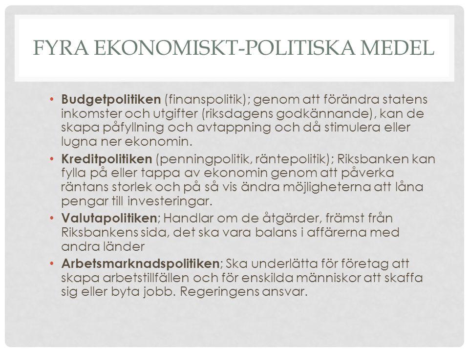 FYRA EKONOMISKT-POLITISKA MEDEL • Budgetpolitiken (finanspolitik); genom att förändra statens inkomster och utgifter (riksdagens godkännande), kan de