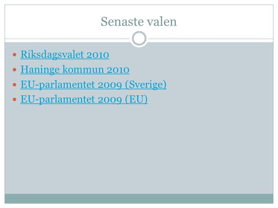 Senaste valen  Riksdagsvalet 2010 Riksdagsvalet 2010  Haninge kommun 2010 Haninge kommun 2010  EU-parlamentet 2009 (Sverige) EU-parlamentet 2009 (S