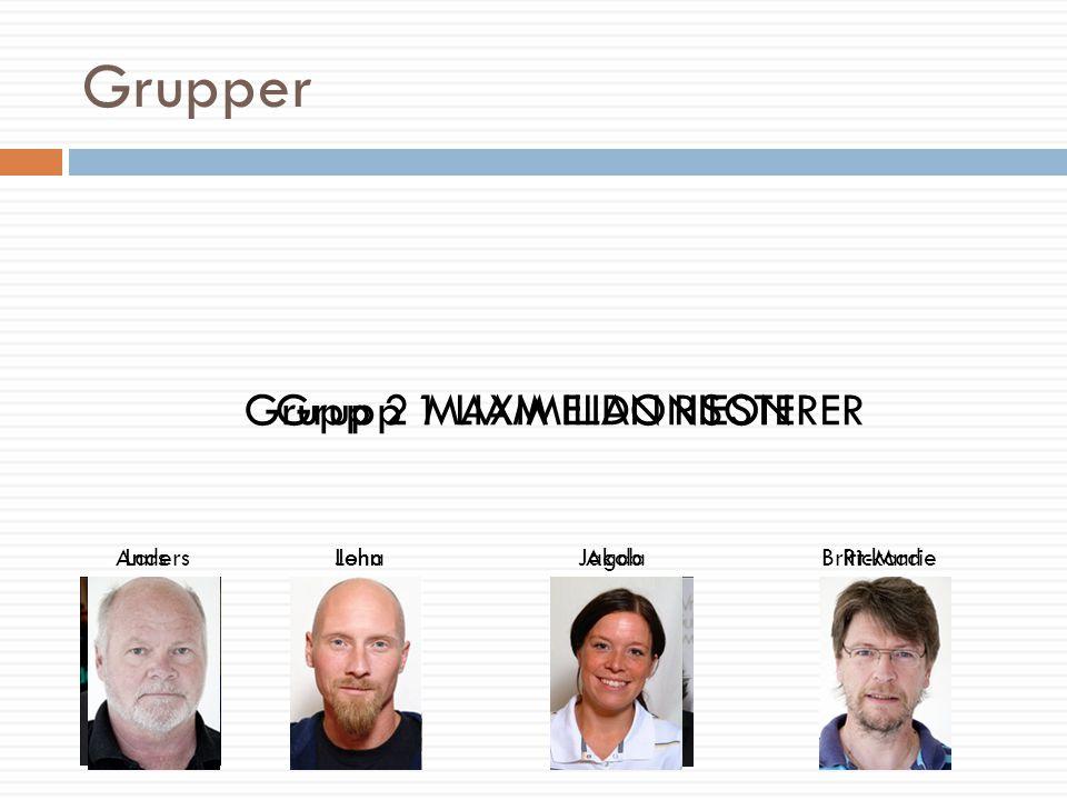 Grupper Grupp 1 LIAM ELDONSON AndersJakobBritt-MarieLena Grupp 2 MAXIMILIAN RIESTERER LarsJohnAgdaRickard