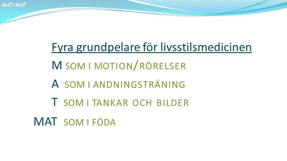 MAT/MAT Fyra grundpelare för livsstilsmedicinen M SOM I MOTION / RÖRELSER A SOM I ANDNINGSTRÄNING T SOM I TANKAR OCH BILDER MAT SOM I FÖDA