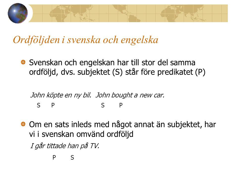 Ordföljden i svenska och engelska Svenskan och engelskan har till stor del samma ordföljd, dvs.