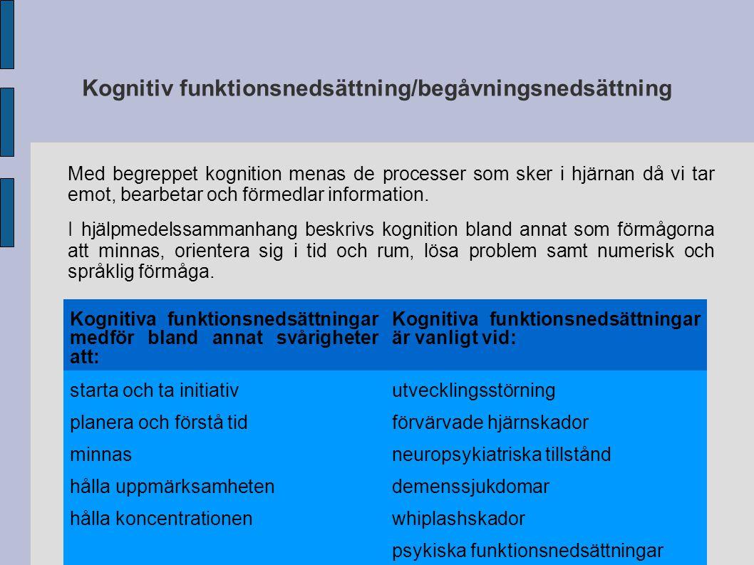 Kognitiv funktionsnedsättning/begåvningsnedsättning Kognitiva funktionsnedsättningar medför bland annat svårigheter att: Kognitiva funktionsnedsättnin