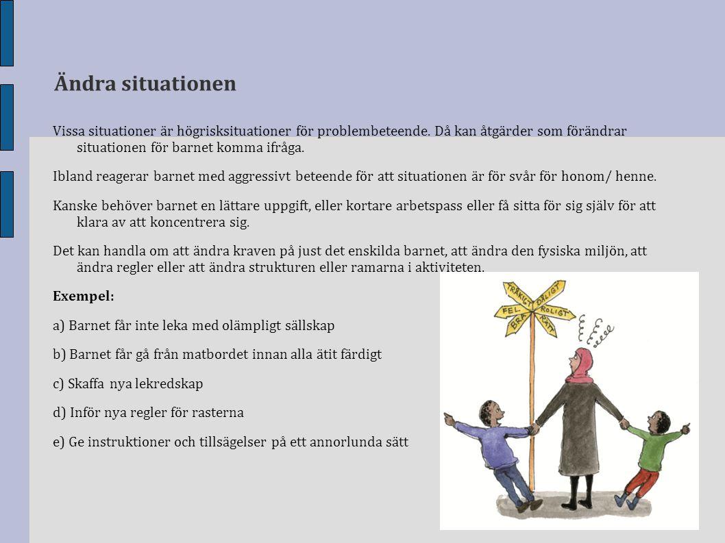 Ändra situationen Vissa situationer är högrisksituationer för problembeteende. Då kan åtgärder som förändrar situationen för barnet komma ifråga. Ibla