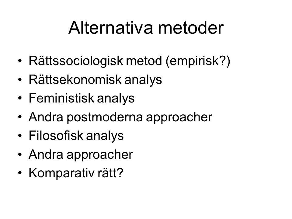 Alternativa metoder •Rättssociologisk metod (empirisk?) •Rättsekonomisk analys •Feministisk analys •Andra postmoderna approacher •Filosofisk analys •Andra approacher •Komparativ rätt?