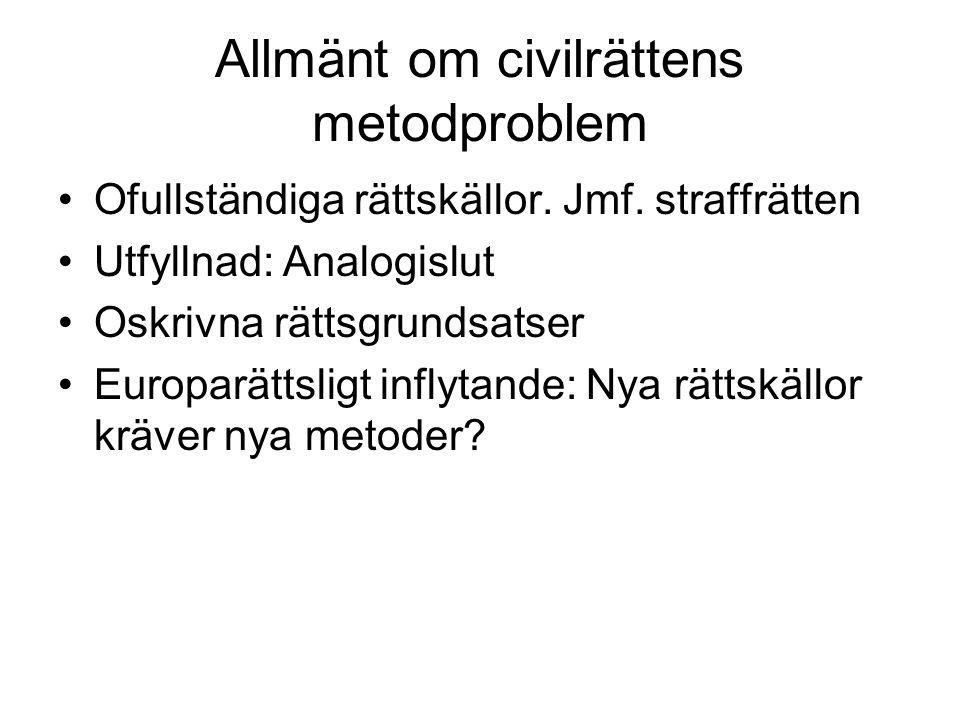Allmänt om civilrättens metodproblem •Ofullständiga rättskällor.