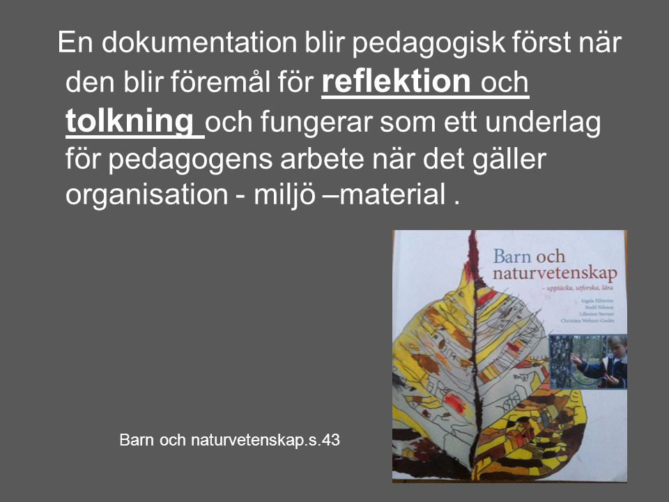 En dokumentation blir pedagogisk först när den blir föremål för reflektion och tolkning och fungerar som ett underlag för pedagogens arbete när det gä