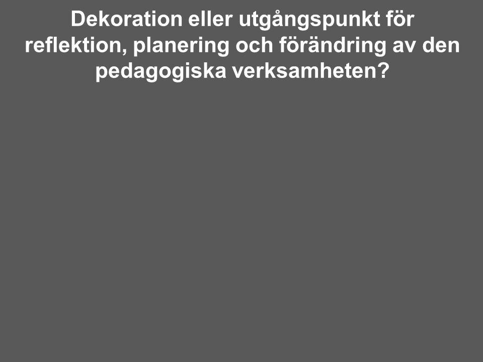 Dekoration eller utgångspunkt för reflektion, planering och förändring av den pedagogiska verksamheten?