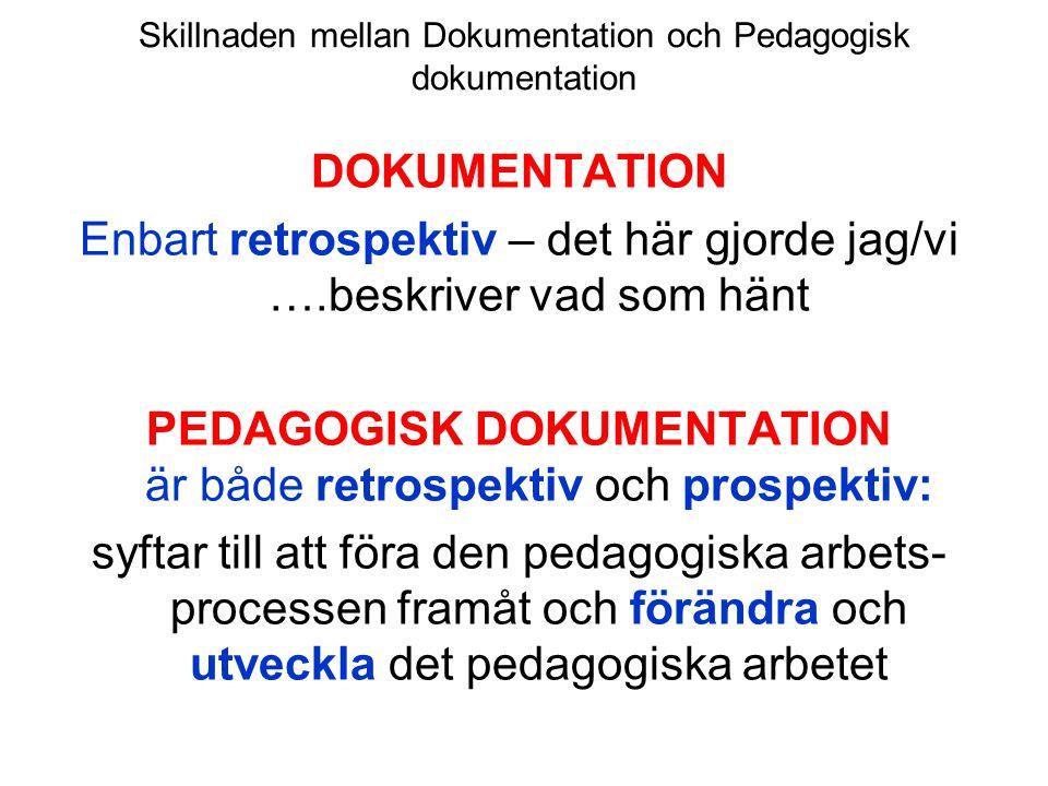 Skillnaden mellan Dokumentation och Pedagogisk dokumentation DOKUMENTATION Enbart retrospektiv – det här gjorde jag/vi ….beskriver vad som hänt PEDAGO