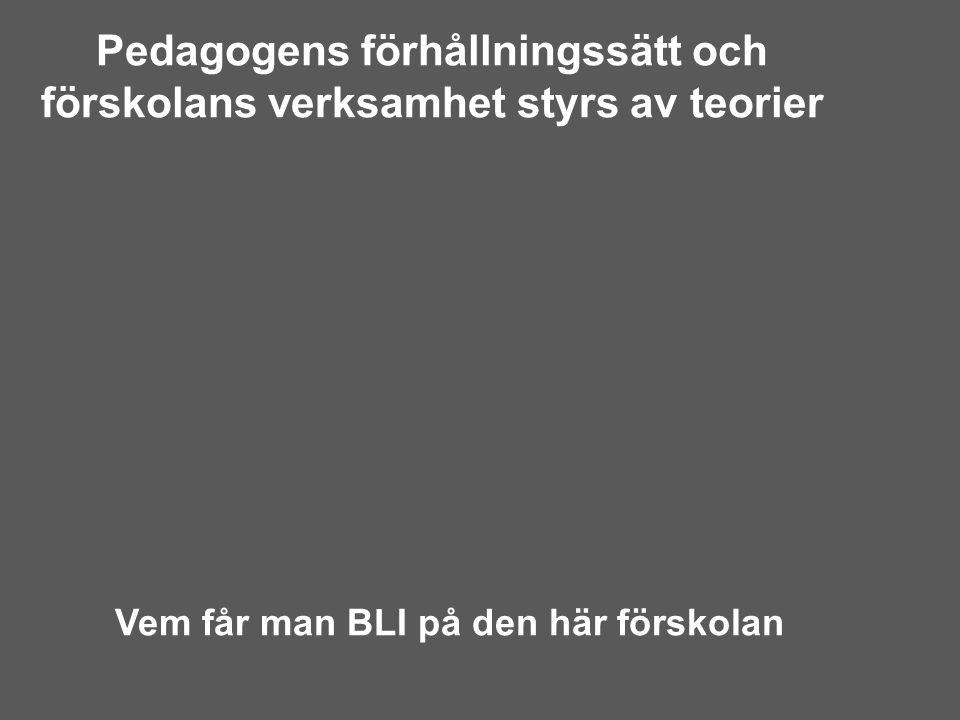 Pedagogens förhållningssätt och förskolans verksamhet styrs av teorier Vem får man BLI på den här förskolan