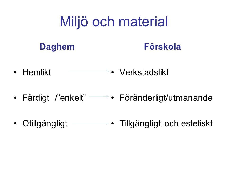 """Miljö och material Daghem •Hemlikt •Färdigt /""""enkelt"""" •Otillgängligt Förskola •Verkstadslikt •Föränderligt/utmanande •Tillgängligt och estetiskt"""