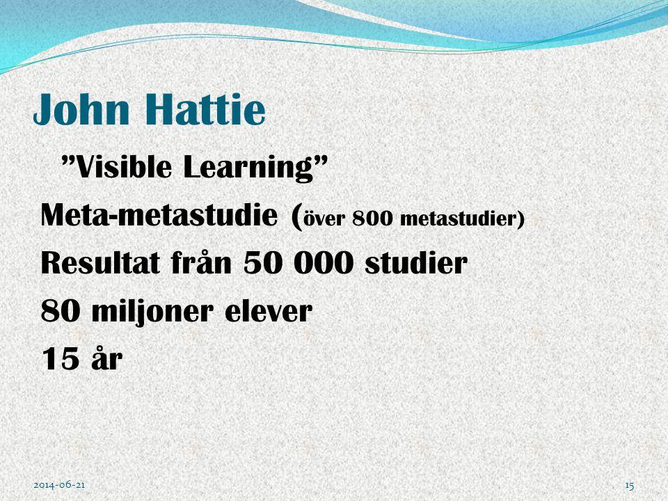 """John Hattie """"Visible Learning"""" Meta-metastudie ( över 800 metastudier) Resultat från 50 000 studier 80 miljoner elever 15 år 2014-06-2115"""
