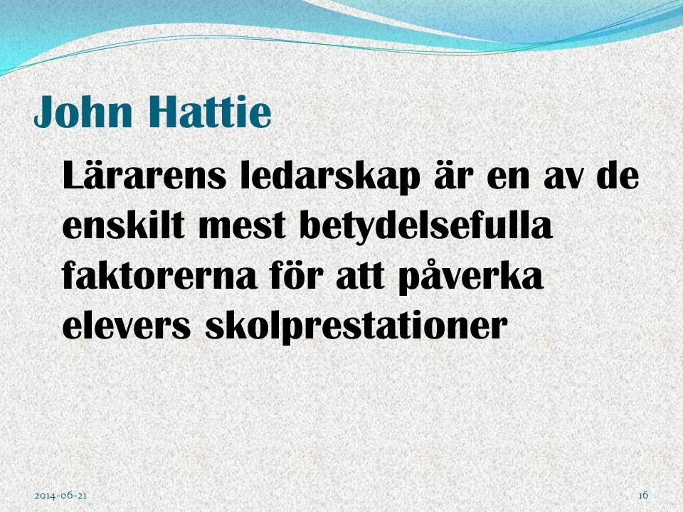 John Hattie Lärarens ledarskap är en av de enskilt mest betydelsefulla faktorerna för att påverka elevers skolprestationer 2014-06-2116