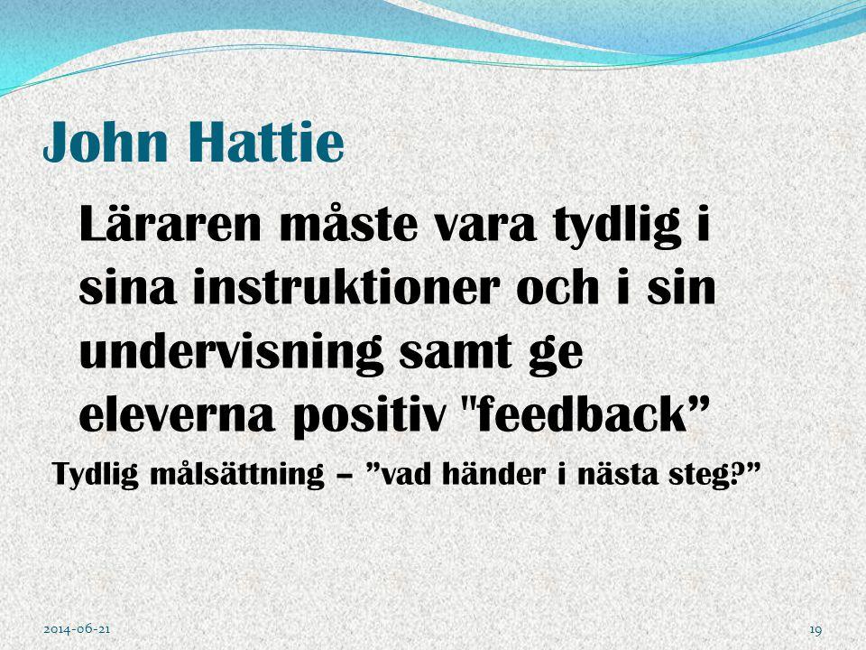 John Hattie Läraren måste vara tydlig i sina instruktioner och i sin undervisning samt ge eleverna positiv