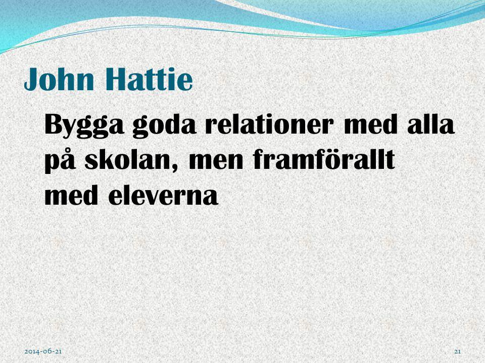 John Hattie Bygga goda relationer med alla på skolan, men framförallt med eleverna 2014-06-2121