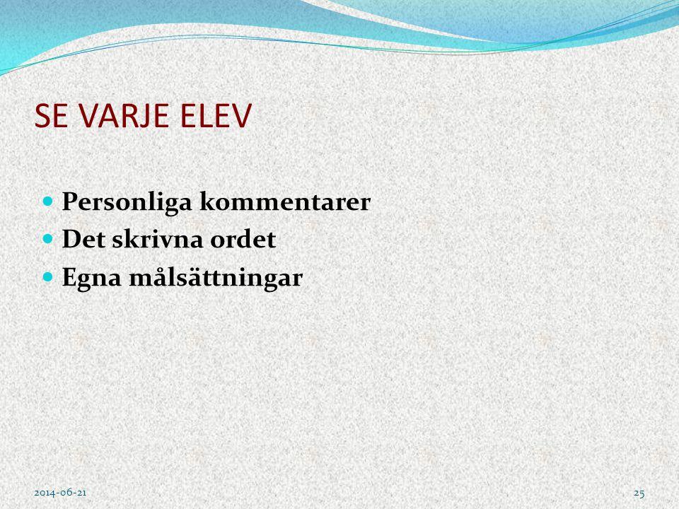 SE VARJE ELEV  Personliga kommentarer  Det skrivna ordet  Egna målsättningar 2014-06-2125