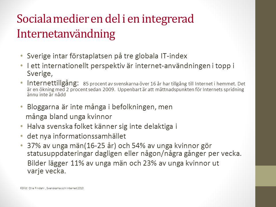 Sociala medier en del i en integrerad Internetanvändning • Sverige intar förstaplatsen på tre globala IT-index • I ett internationellt perspektiv är i