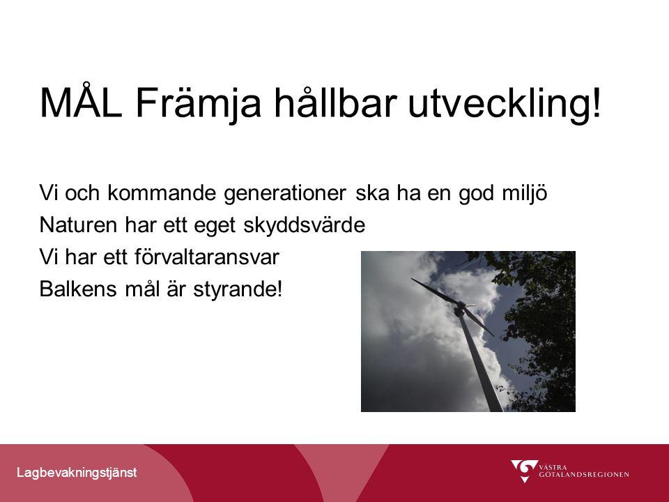 Lagbevakningstjänst MÅL Främja hållbar utveckling.