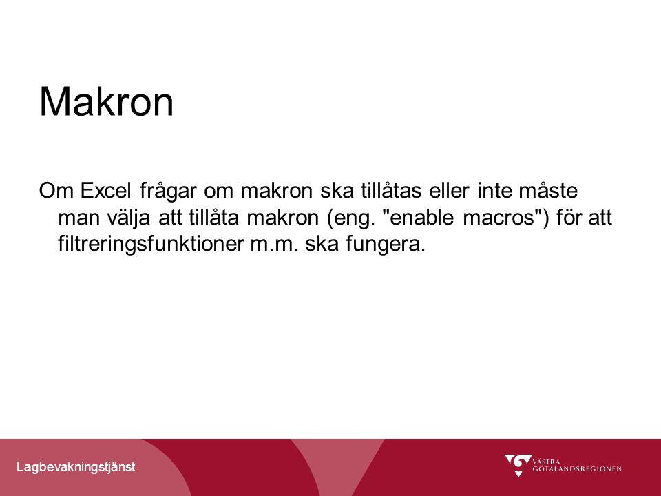 Lagbevakningstjänst Makron Om Excel frågar om makron ska tillåtas eller inte måste man välja att tillåta makron (eng.