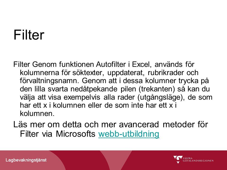 Lagbevakningstjänst Filter Filter Genom funktionen Autofilter i Excel, används för kolumnerna för söktexter, uppdaterat, rubrikrader och förvaltningsnamn.
