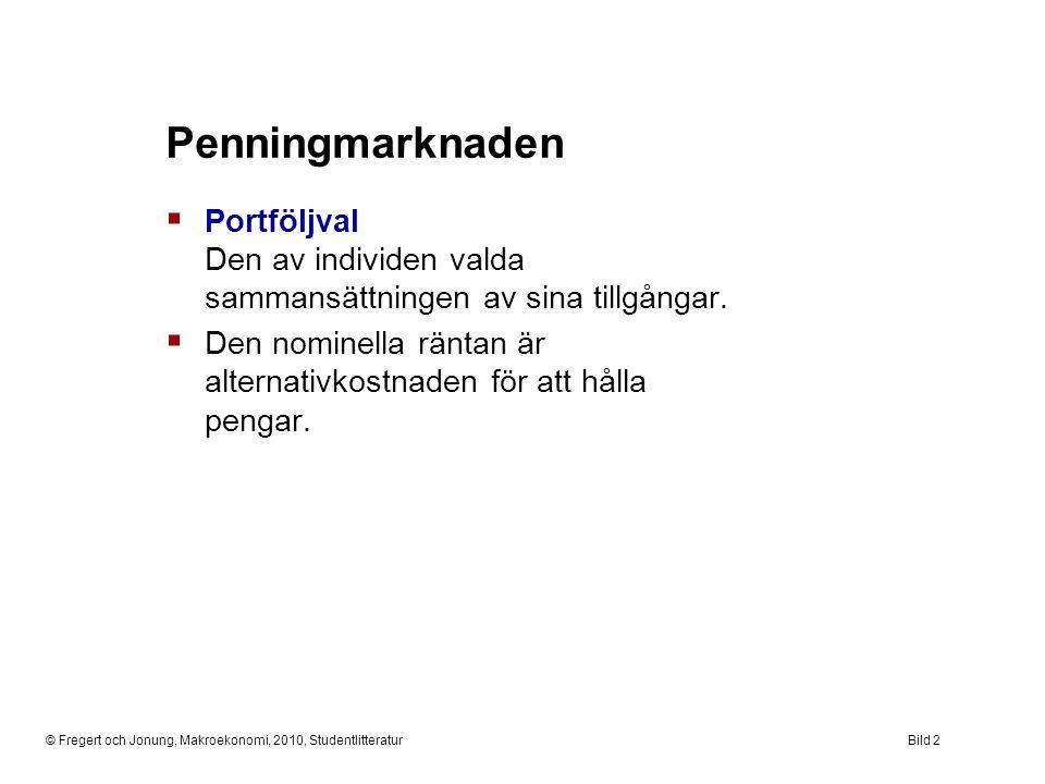 © Fregert och Jonung, Makroekonomi, 2010, StudentlitteraturBild 2 Penningmarknaden  Portföljval Den av individen valda sammansättningen av sina tillg